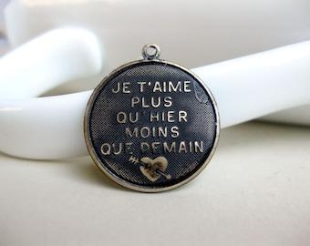 Black French Pendant, Hand Patina