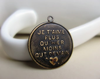 Solid Brass French Charm Hand Antiqued Dark Brown