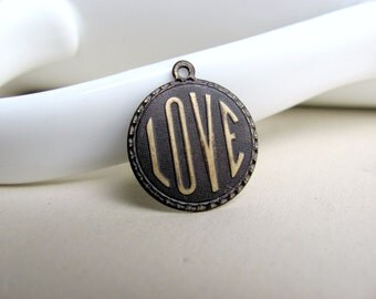 Hand Patina Love Pendant Solid Brass