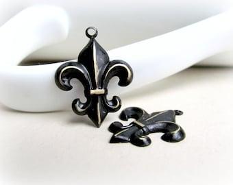 Two Distressed Black Fleur de Lis Charms