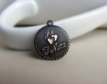 Hand Patina Round French Charm Chocolate I Love You