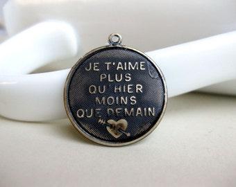 Black Brass French Pendant Hand Patina