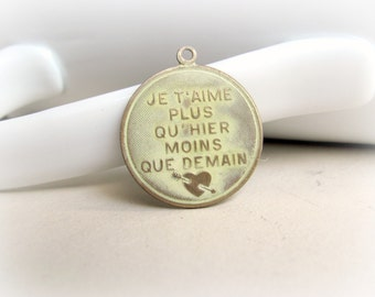 French Charm, Patina Charm, Brass Charm