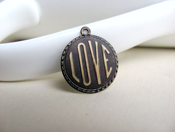 Dark Brown Patina Love Pendant Solid Brass