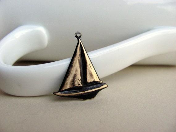 Brown Patina Sailboat Charm