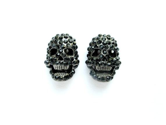 Rhinestone Skull Connector, Black Skull, Rhinestone Skull Charm, Basketball Wives