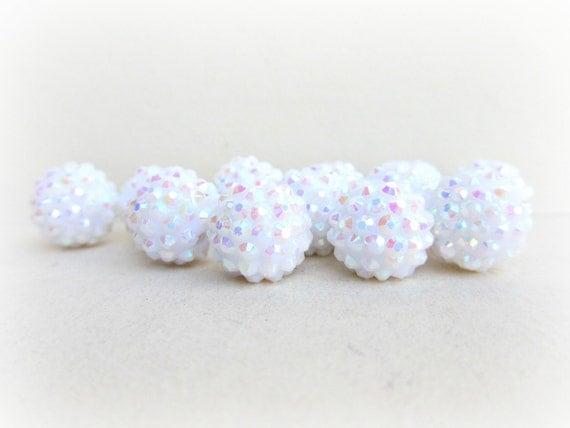 10 PCS Basketball Wives, Metallic White Rhinestone Resin Beads 16mm