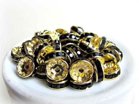 Black Rondelle Spacer Rhinestones, Basketball Wives, 10mm, 100pcs