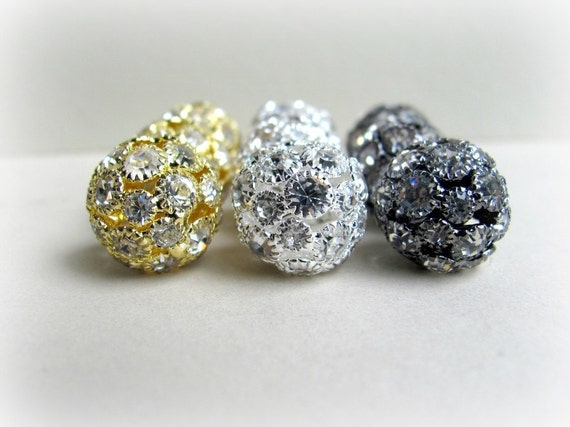 14 mm Silver Rhinestone Beads, Basketball Wives, 2 PCS