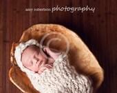 Handspun, super chunky newborn, hooded cocoon. Cream colored, hand knit.