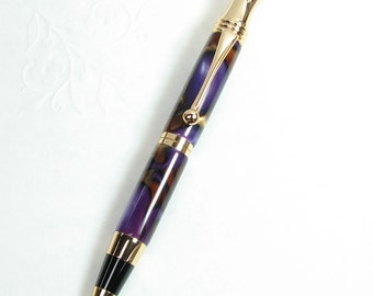 Handmade pen: RETRO Style Ball-Point acrylic Pen in MAJESTIC PURPLE with 24 kt Gold trim