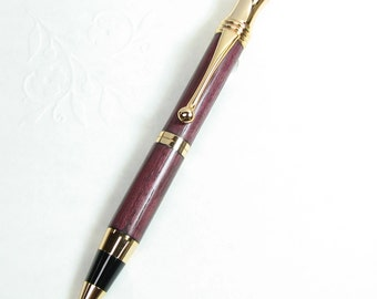 Handmade pen - RETRO Style Ball-Point wood Pen in PURPLEHEART wood with 24 kt GOLD trim