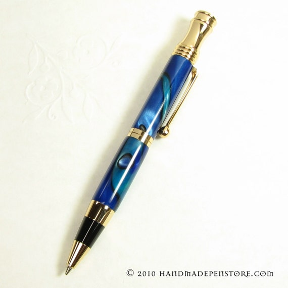 CARIBBEAN BLUE acrylic Pen with 24kt GOLD trim handmade in Retro Style (ball point)