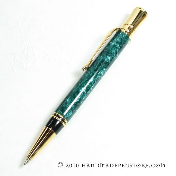 GREEN GRANITE acrylic pen with 24kt GOLD in Parker Duofold Style - Handmade pen