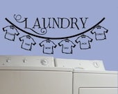 Laundry Room Clothes Line Decor wall decal with family name monogram tshirts Large