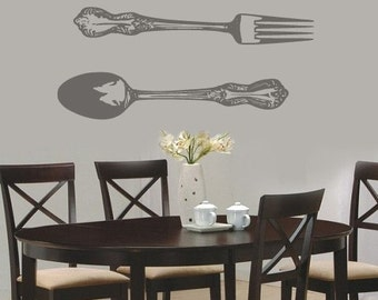 Large Spoon and Fork Vinyl Wall Decal Sticker Art  Gigantic Cutlery