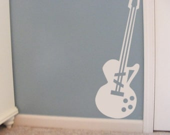 Guitar wall decal, Musical Wall Decals, 10 x 30, kids music room decor, Guitar Lesson teacher, Playroom Wall Decals, Childrens Decor