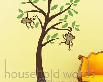 Baby Nursery Wall Decor, Monkey Tree wall decal, Vinyl wall decals, Kids bedroom decor, nursery wall stickers, Monkey decor, monkey decal