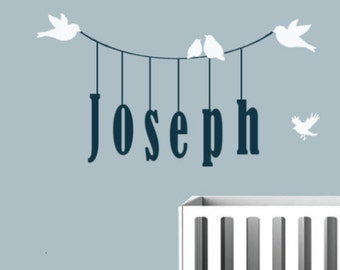 Baby Name Wall Decal - Baby Boy Wall Decal - Baby Girl Wall Decal - Bird Decal - Nursery Vinyl Wall Decal Art - Personalized Monogram Decal