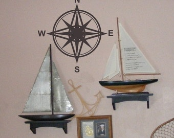 "Compass vinyl wall decal 20"" diameter for your beach decor"