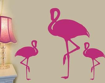 Flamingo Wall Decals, college apartment decor, Beach Wall Decals, Beach House Decor, Tropical Birds, Flamingo Party, flamingo decorations