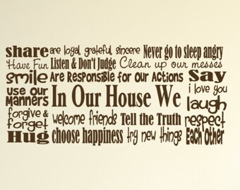 "In Our House We say I love You Vinyl Wall Decal  68"" long X 2 feet tall"