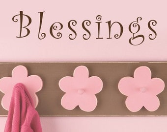 Blessings Vinyl Wall Decal Words, Door Decal, Wall Decals, 3 x 10, Window Decal, Religious Vinyl wall decals, Country decor, Kitchen decal