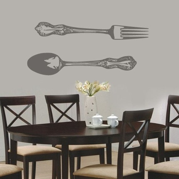 large spoon and fork vinyl wall decal sticker art gigantic. Black Bedroom Furniture Sets. Home Design Ideas