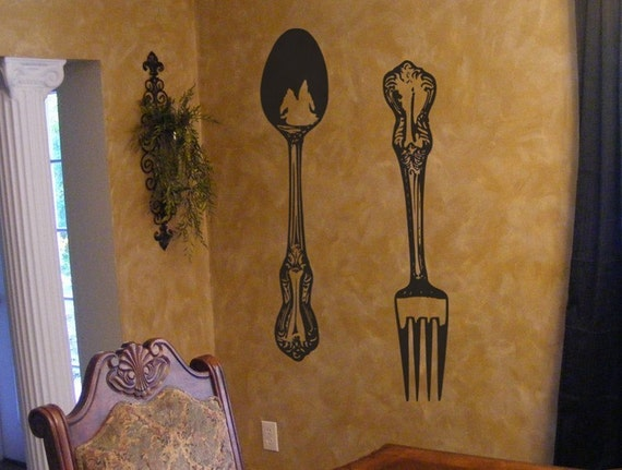 Fork and Spoon wall decor vinyl decals - Large Silverware wall art -  Kitchen cutlery