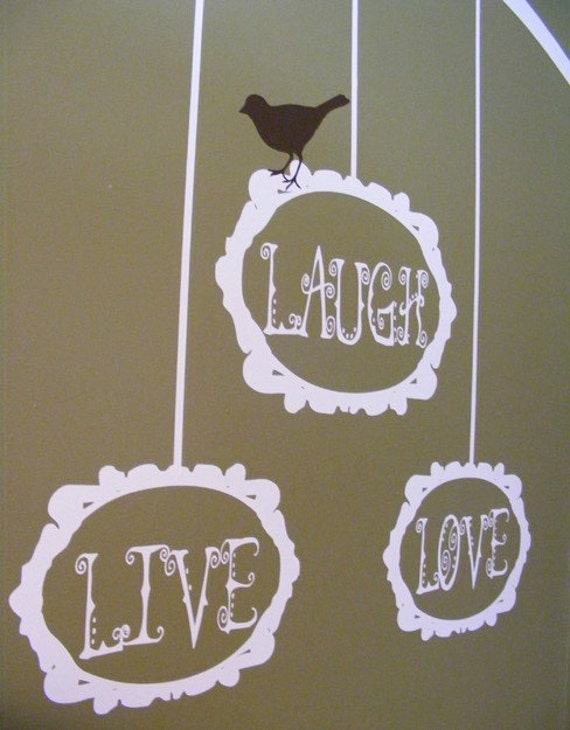 Live Laugh Love Tree Branch And Birdie With Ornate Baroque