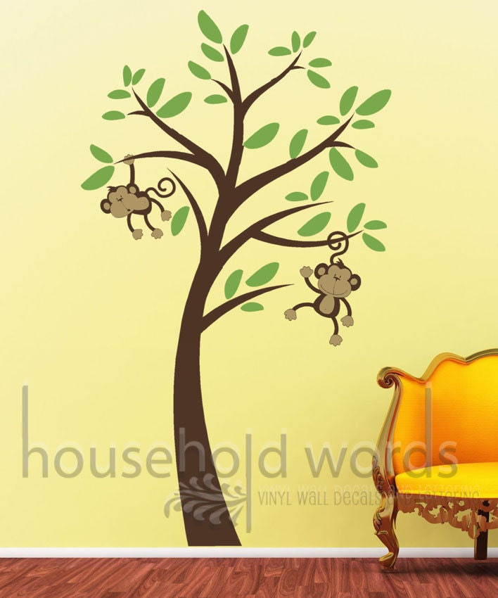 baby nursery wall decor monkey tree wall decal by householdwords