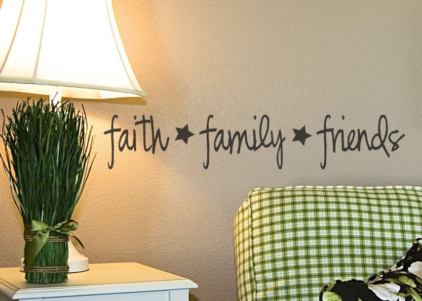 Family Friends Wall Decor : Faith family friends vinyl wall decal primitive by
