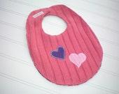 Recycled Sweater Bib - Pink Valentine Hearts