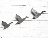 Wall art Flying ducks Set of three birds Flock in metallic silver finish Modern contemporary retro stoneware ceramic pottery wall ornaments