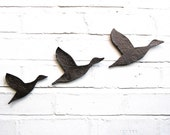 Three Flying ducks Ceramic Wall Art Metallic Graphite Finish Bathroom art Modern Retro Home Decor Unisex Guys Men Women MADE TO ORDER