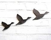 Three Flying ducks Ceramic Wall Art Metallic Graphite Finish Bathroom art Modern Retro Home Decor Unisex Guys Men Women