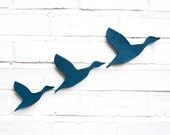 Ceramic wall art Flying ducks - Teal blue 3 deep turquoise pottery birds Home decor wall decor Modern classic retro silhouette READY TO SHIP