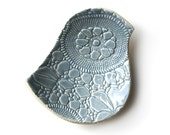 Lacy bird bowl in Wedgewood blue stoneware ceramic with vintage lace crochet texture