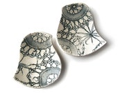 Birds of a feather bowl duo with lace texture in stoneware ceramic