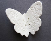 Flutter Butterfly White porcelain wall art sculpture Ceramic lace wing Antique embroidery detail and sterling silver wire Elegant home decor