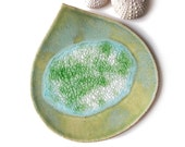 Mothers day gift Pottery bowl Rainforest leaf ceramic bowl in green pottery with turquoise blue recycled glass Soap dish decorative bowl eco