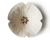 Ceramic bowl Poppy bowl in cream pottery with red details Mothers day or Valentines gift for her gift under 30