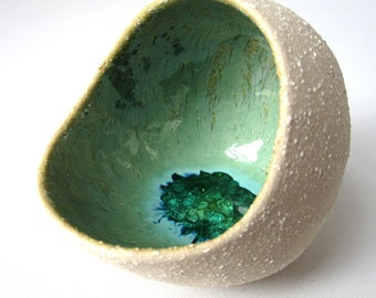 Salt pig with recycled glass RESERVED FOR YOSHEBEAGLE
