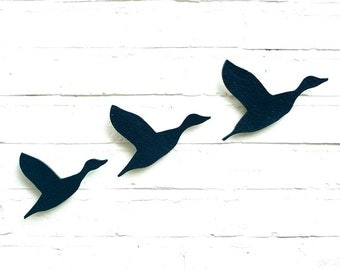 Ceramic wall art Flying ducks Flock in navy blue pottery Bird artwork set of three Original artwork Living room kitchen bathroom home decor