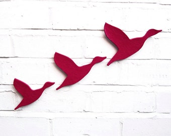 Ceramic wall art Flock flying ducks set of three Bright fuschia pink Home decor Wall ornament Modern retro artwork