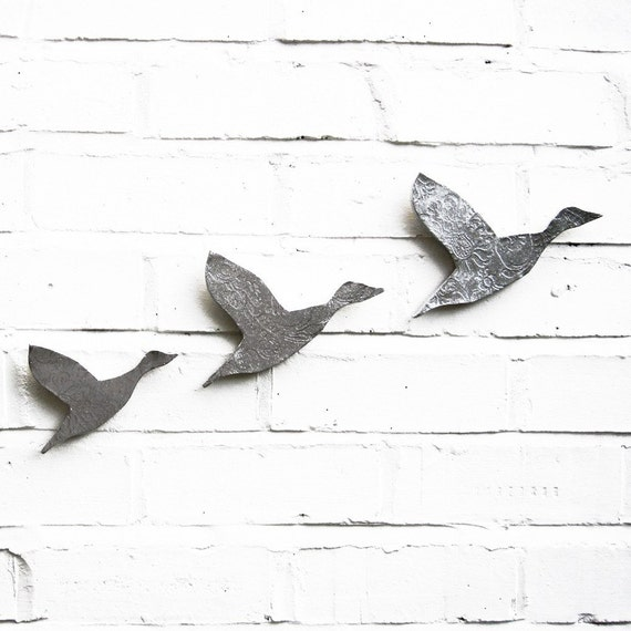 Wall art Flying ducks Set of three birds Flock in metallic silver finish Modern contemporary retro stoneware ceramic pottery wall ornaments