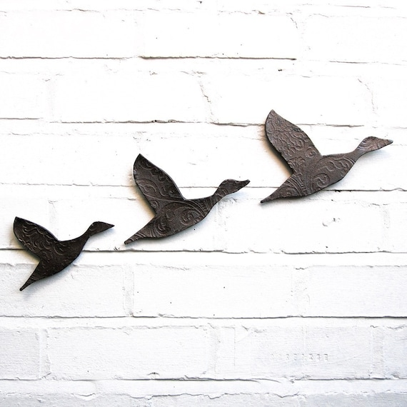 Three Flying ducks Ceramic Wall Art Metallic Graphite Finish Bathroom art Modern Retro Home Decor Unisex Guys Men Women