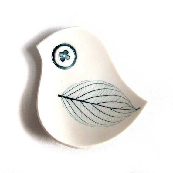 Little Blue Bird Dish White & Teal Blue with Leaf Imprint - Modern Jewelry Ring Bowl Candle Holder Birthday Gift For Her