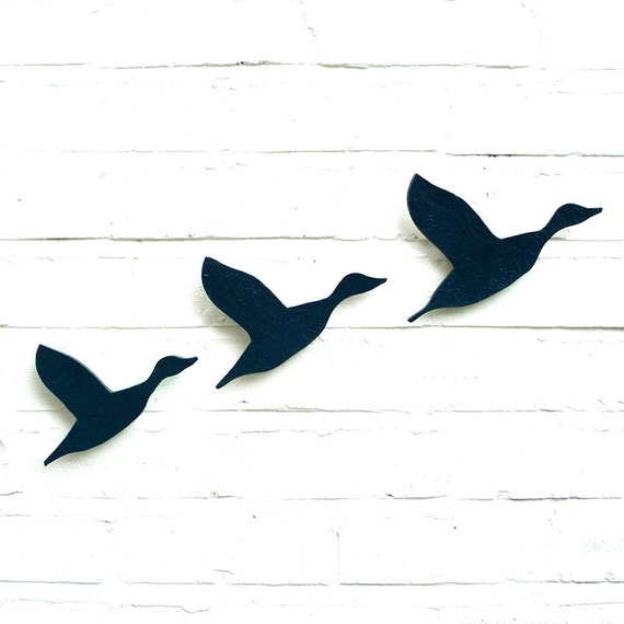 Ceramic Wall Art Flying Ducks Flock In Navy Blue Pottery Bird