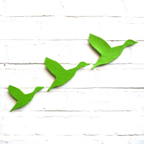 Flying ducks set of three Ceramic wall art Flock bird silhouette Bright Lime green stoneware pottery Retro classic home decor Spring summer